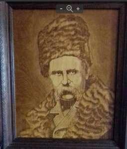Портрет Т.Г. Шевченко выжженный на дереве. - изображение 1